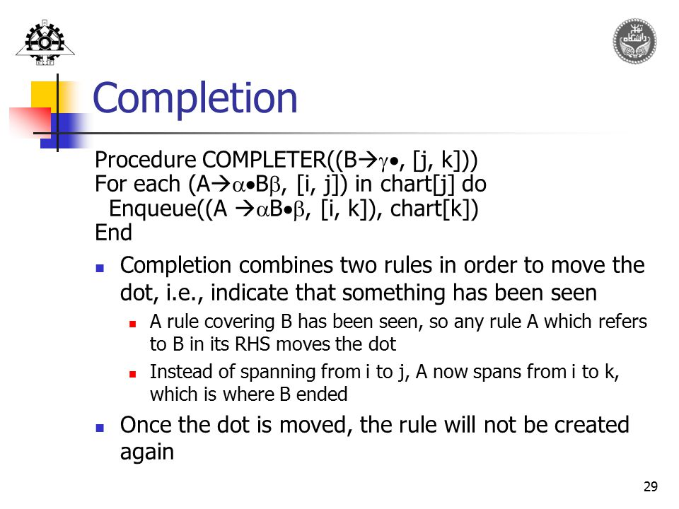 Completion Procedure COMPLETER((B, [j, k]))